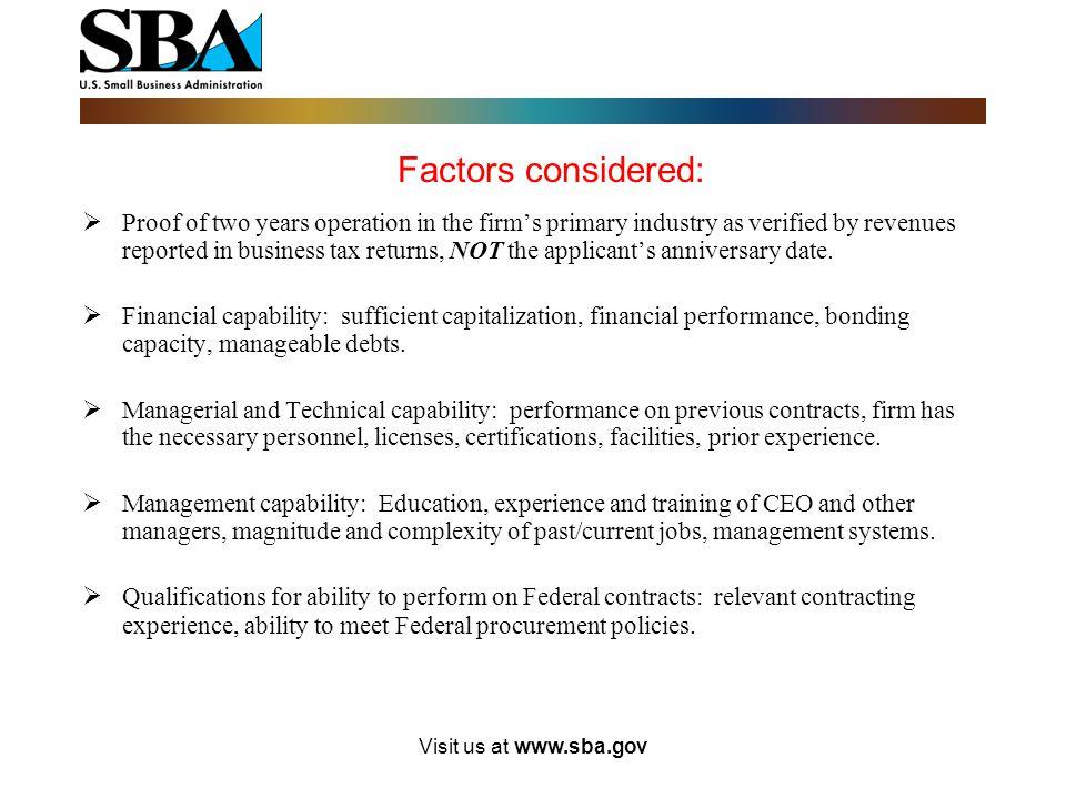 Factors considered: