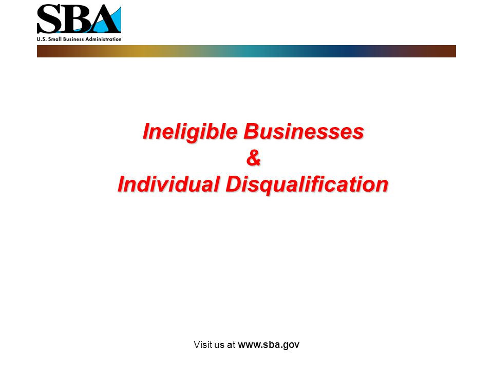 Ineligible Businesses & Individual Disqualification