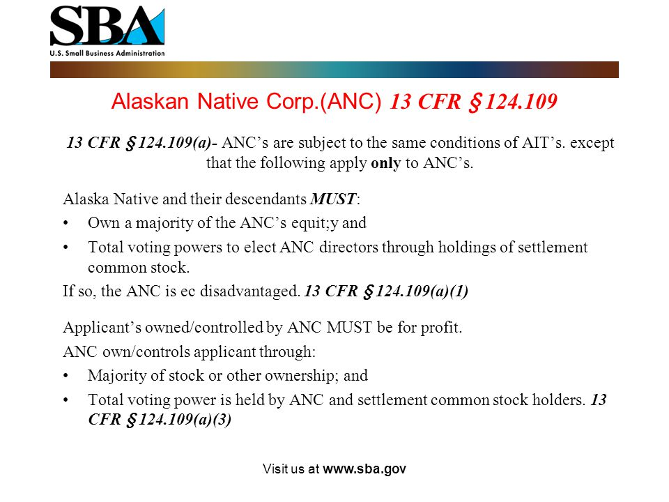 Alaskan Native Corp.(ANC) 13 CFR § 124.109