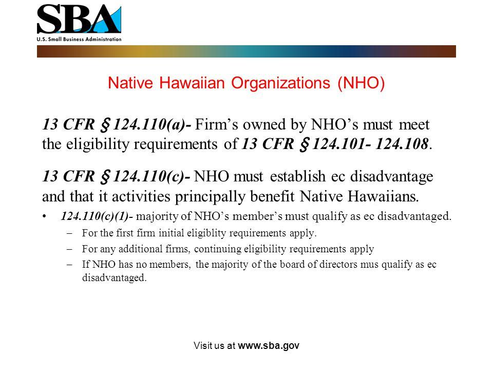 Native Hawaiian Organizations (NHO)