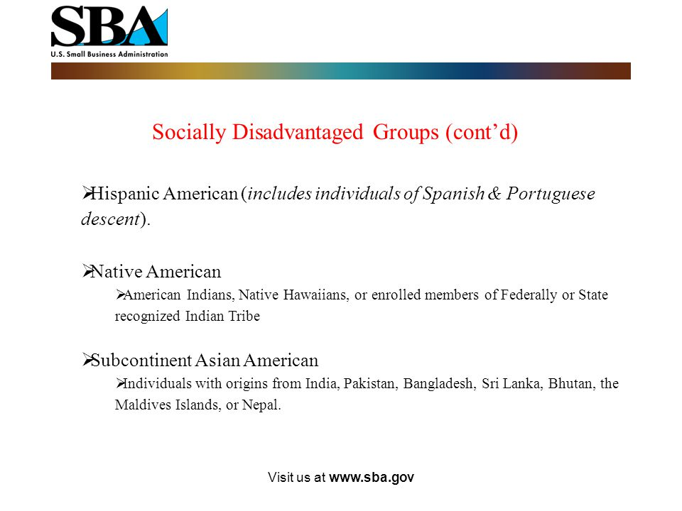 Socially Disadvantaged Groups (cont'd)