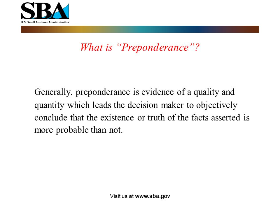 What is Preponderance