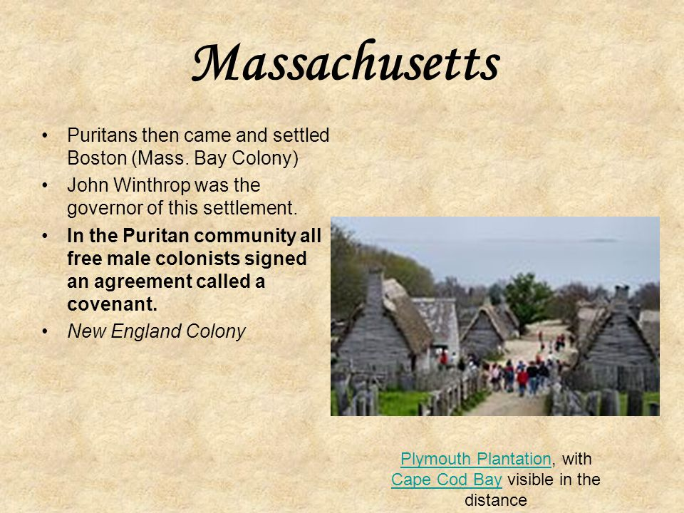 Plymouth Plantation, with Cape Cod Bay visible in the distance