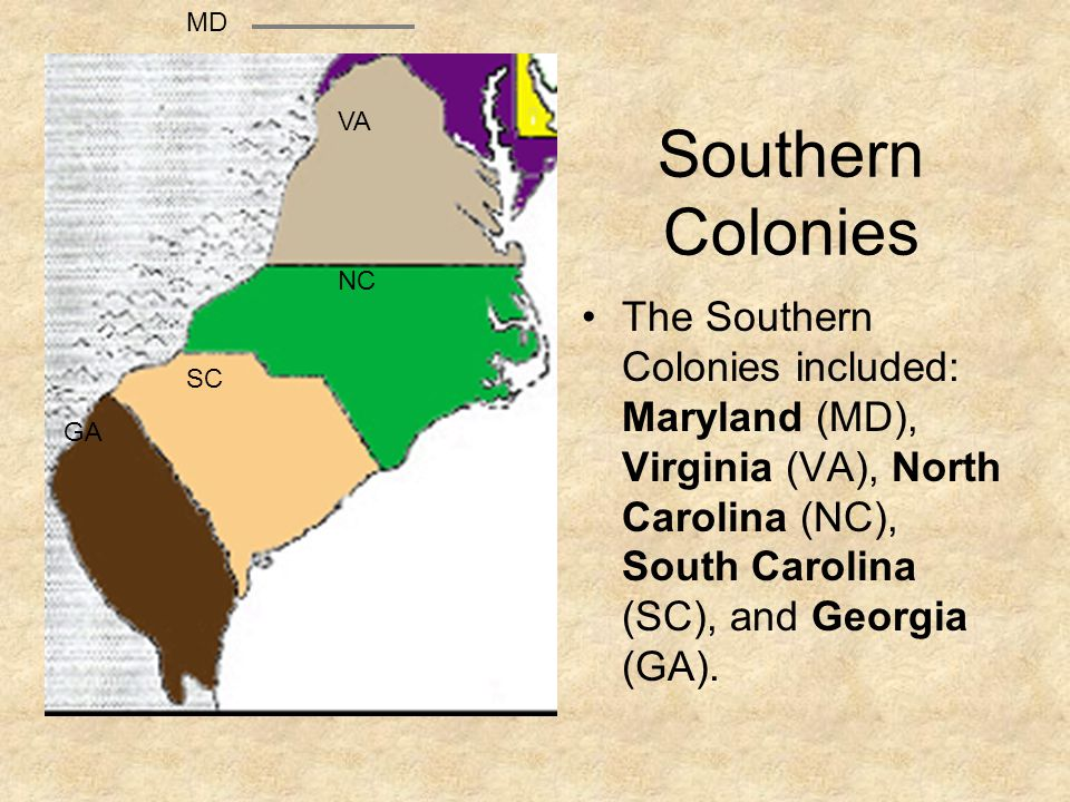 MD Southern Colonies. VA. NC.