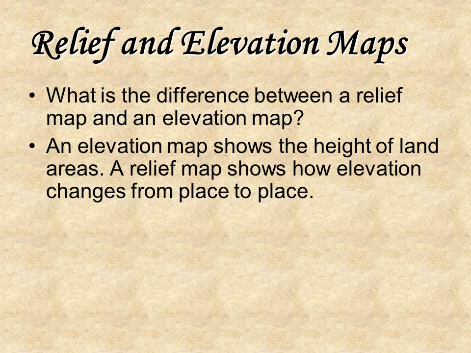 Relief and Elevation Maps
