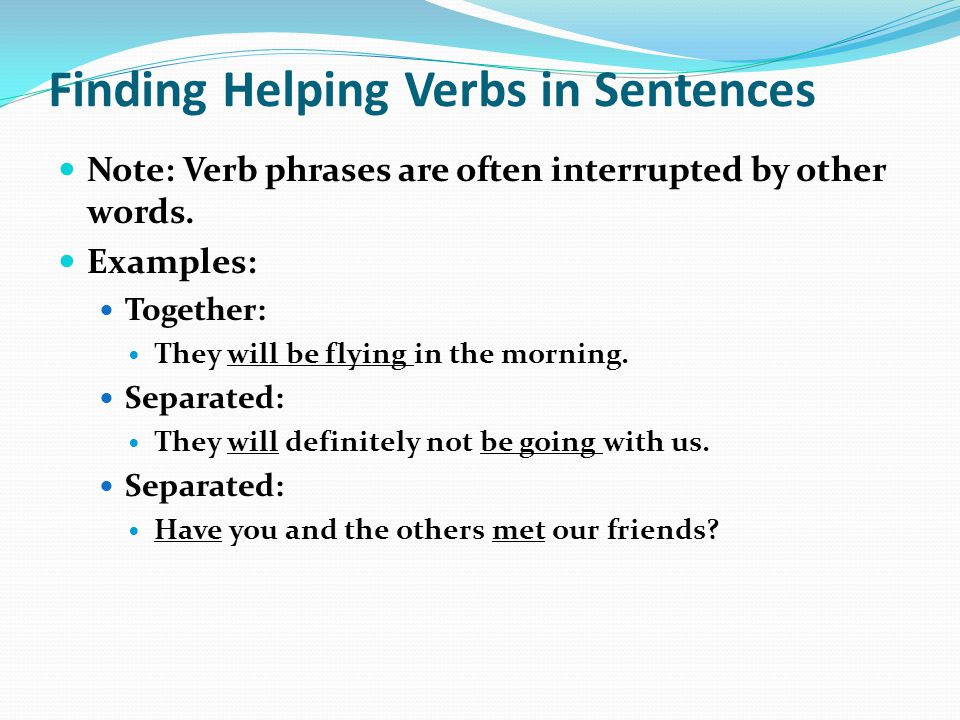 Finding Helping Verbs in Sentences
