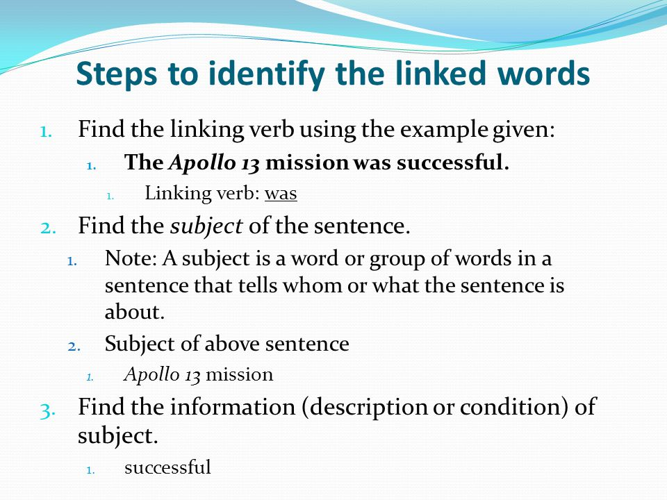 Steps to identify the linked words