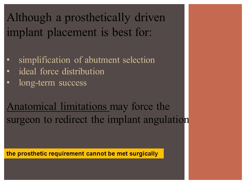 Although a prosthetically driven implant placement is best for: