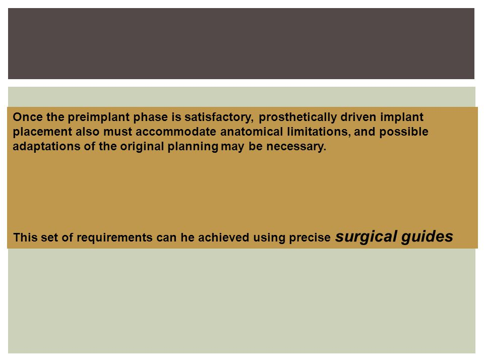 Once the preimplant phase is satisfactory, prosthetically driven implant placement also must accommodate anatomical limitations, and possible
