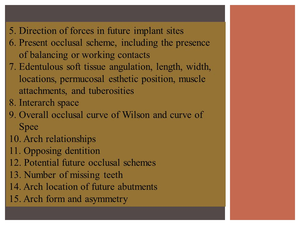 5. Direction of forces in future implant sites
