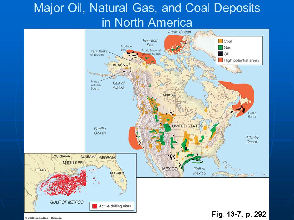 Major Oil, Natural Gas, and Coal Deposits in North America