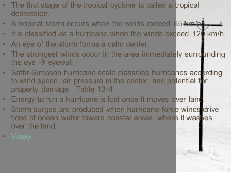 The first stage of the tropical cyclone is called a tropical depression.
