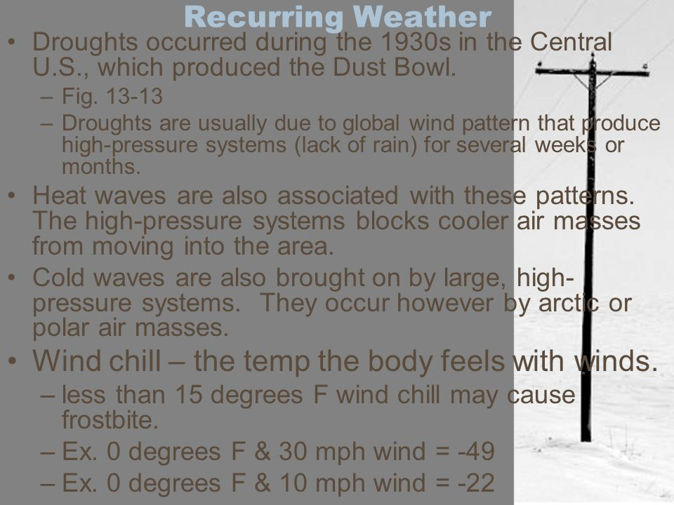 Wind chill – the temp the body feels with winds.