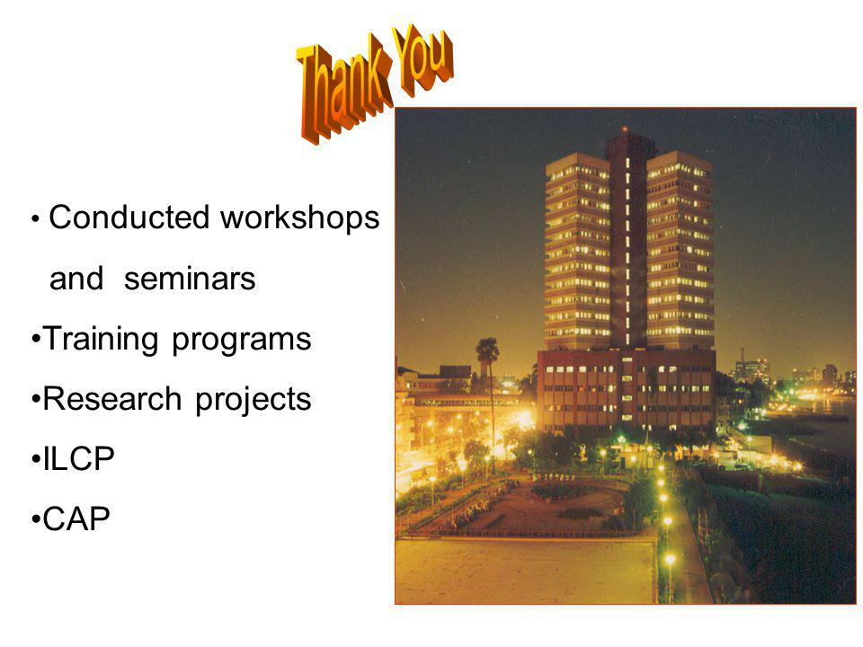 Thank You and seminars Training programs Research projects ILCP CAP