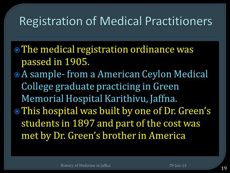 Registration of Medical Practitioners