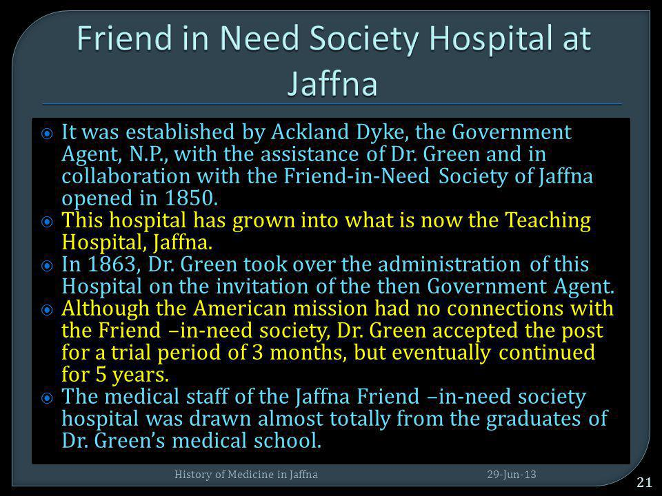 Friend in Need Society Hospital at Jaffna