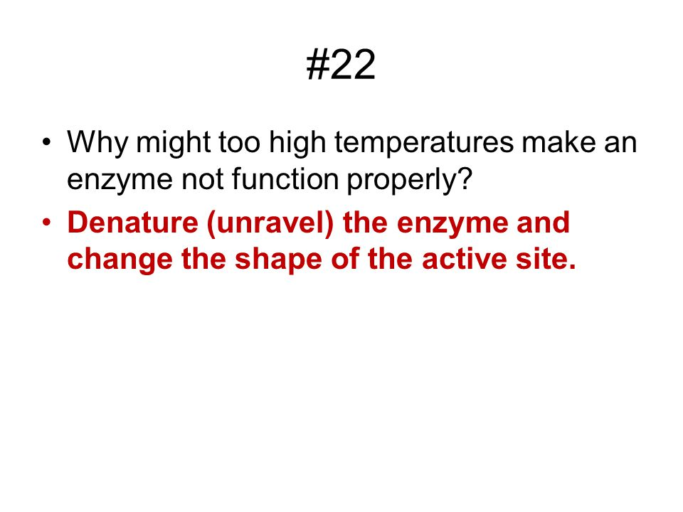 #22 Why might too high temperatures make an enzyme not function properly.