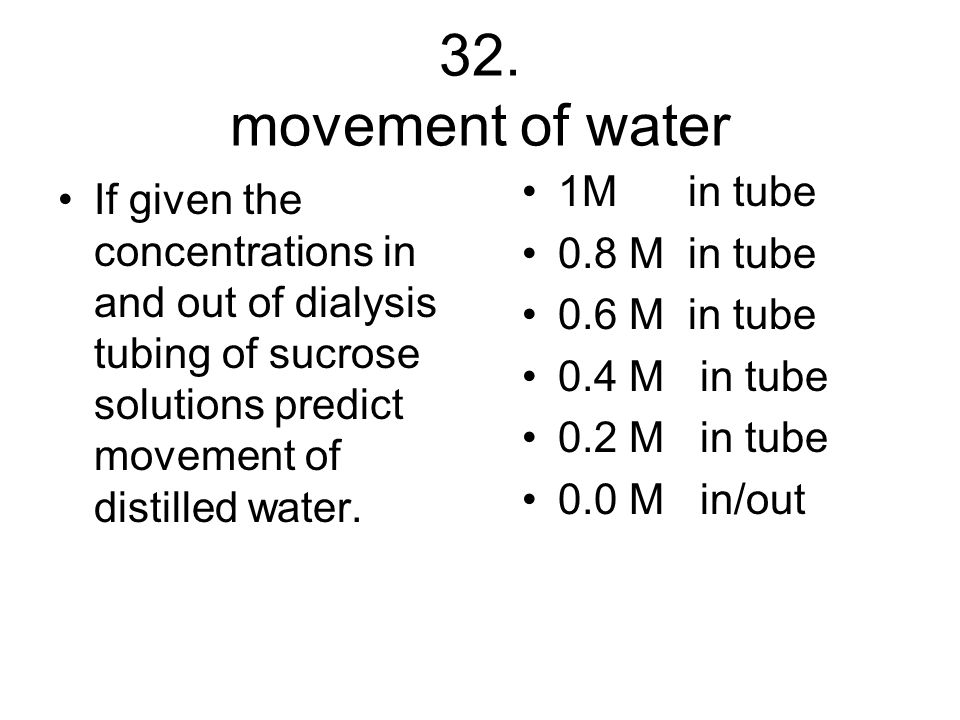 32. movement of water 1M in tube