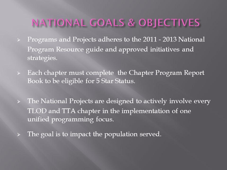 NATIONAL GOALS & OBJECTIVES