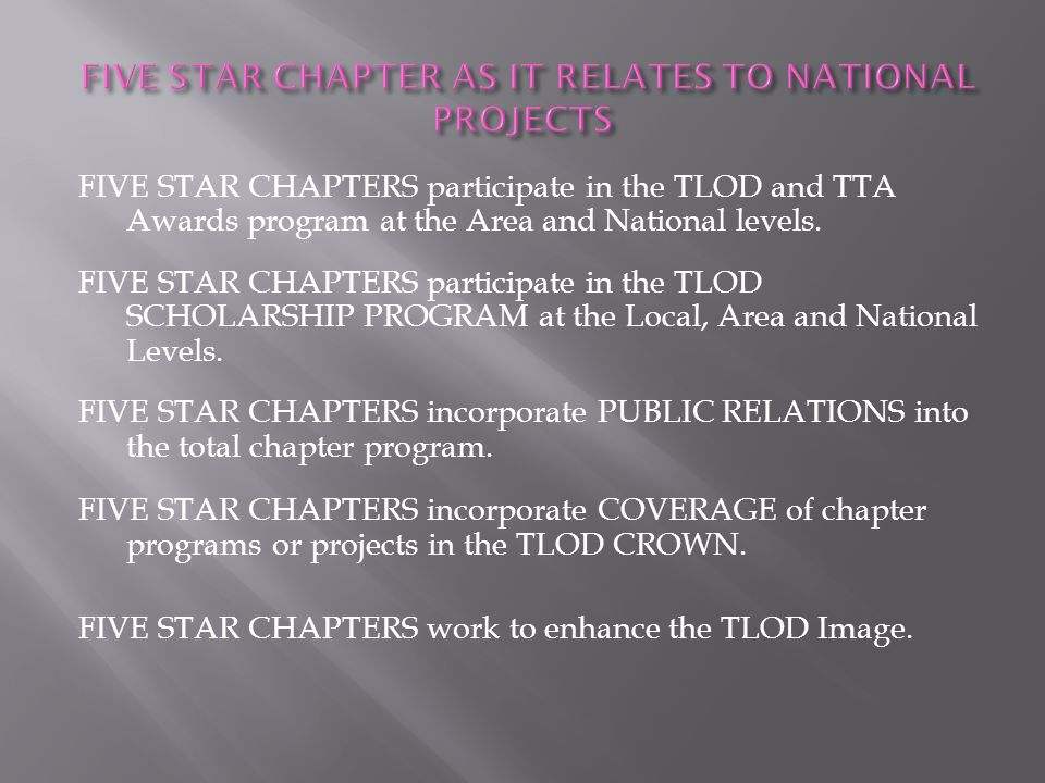 FIVE STAR CHAPTER AS IT RELATES TO NATIONAL PROJECTS