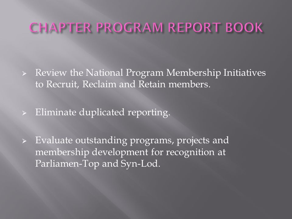 CHAPTER PROGRAM REPORT BOOK