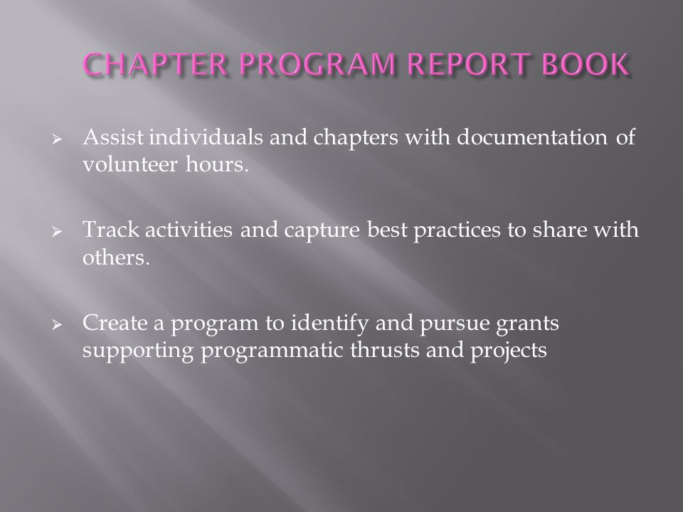CHAPTER PROGRAM REPORT BOOK