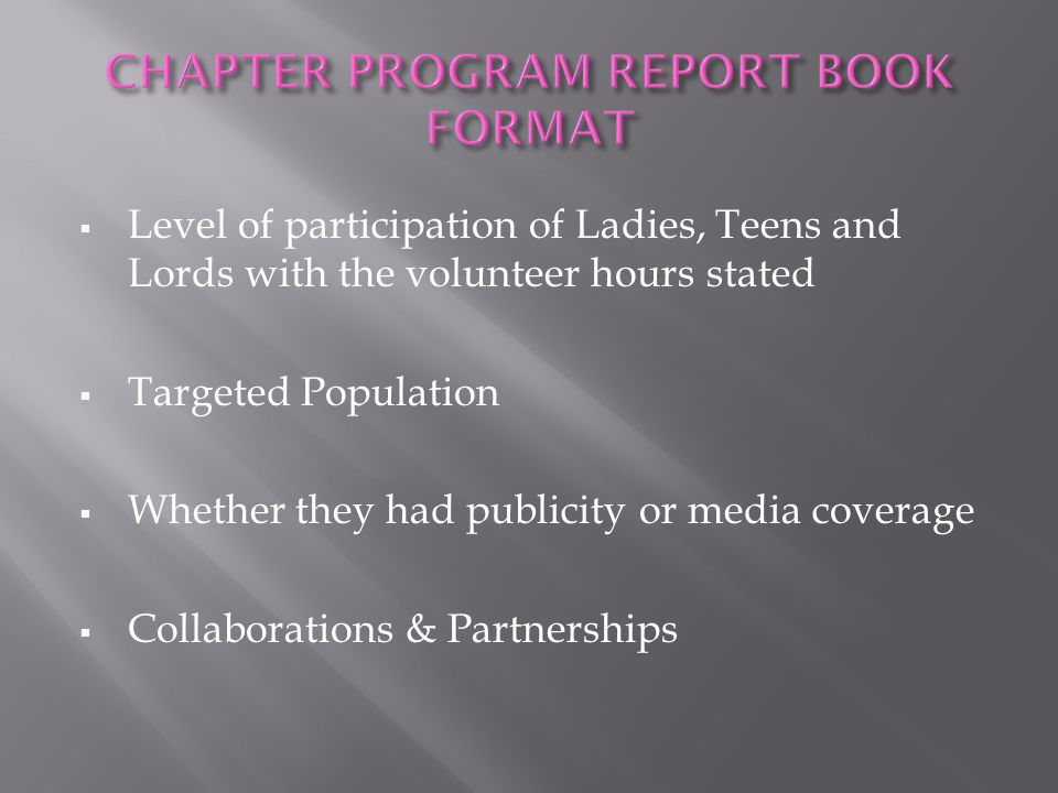 CHAPTER PROGRAM REPORT BOOK FORMAT