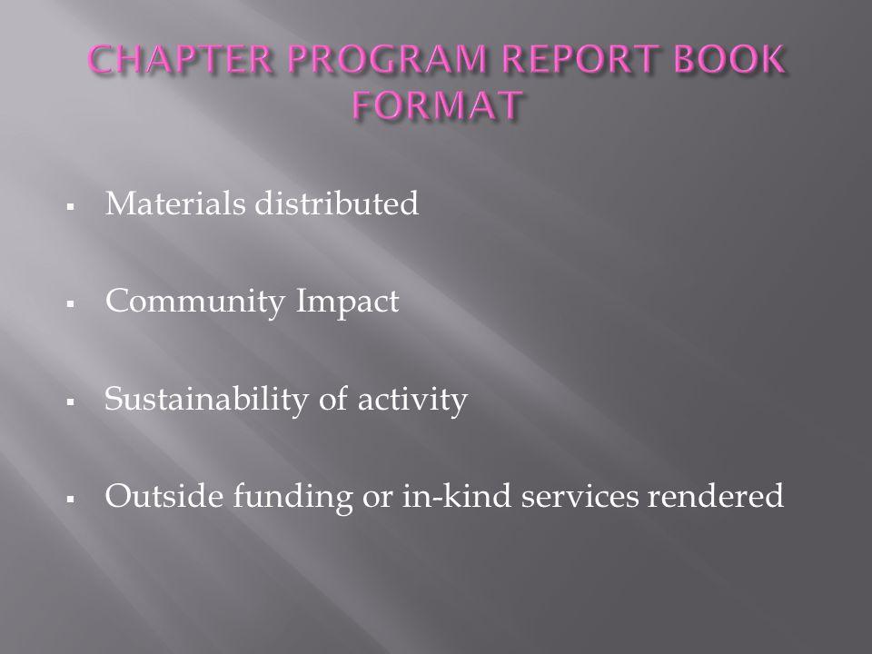 CHAPTER PROGRAM REPORT BOOK FORMAT