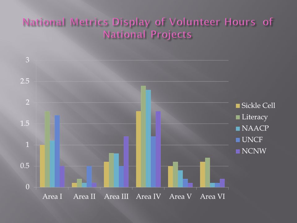 National Metrics Display of Volunteer Hours of National Projects