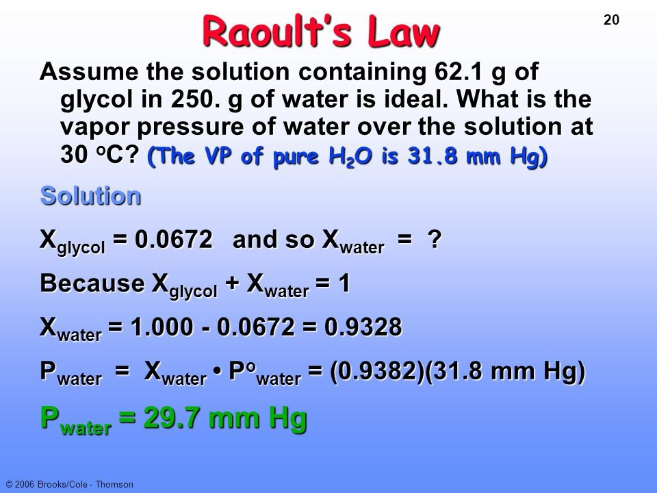Raoult's Law Pwater = 29.7 mm Hg