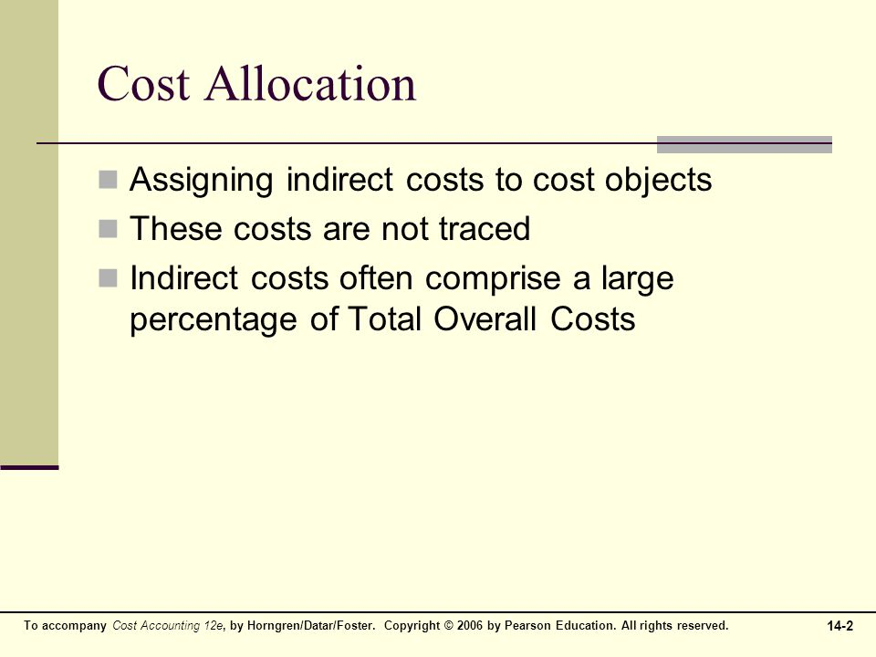 Cost Allocation Assigning indirect costs to cost objects