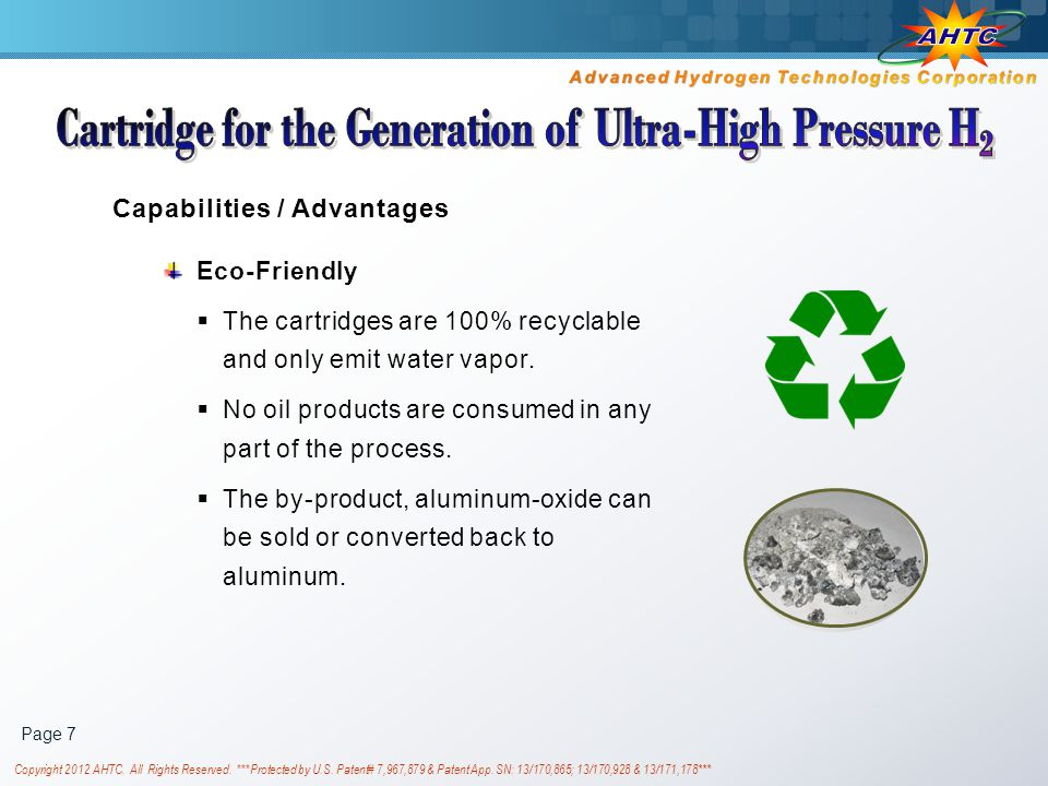 Cartridge for the Generation of Ultra-High Pressure H2