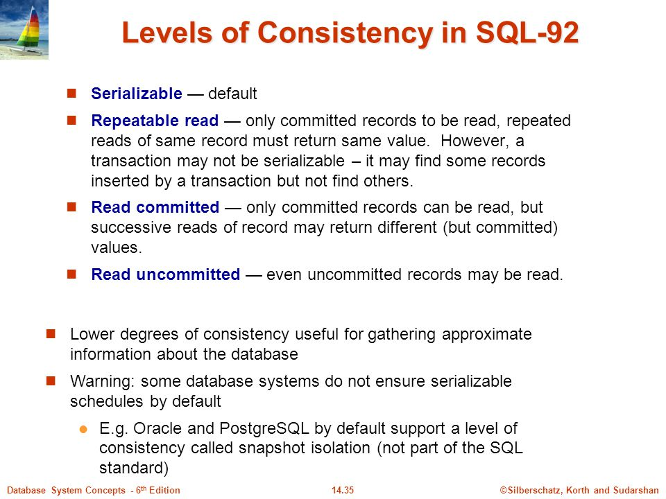 Levels of Consistency in SQL-92