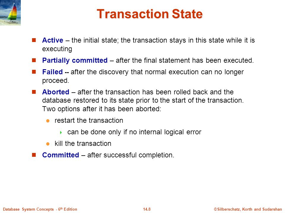Transaction State Active – the initial state; the transaction stays in this state while it is executing.