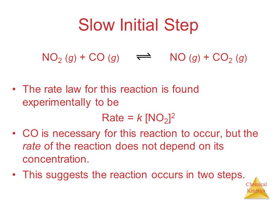 Slow Initial Step NO2 (g) + CO (g) NO (g) + CO2 (g)