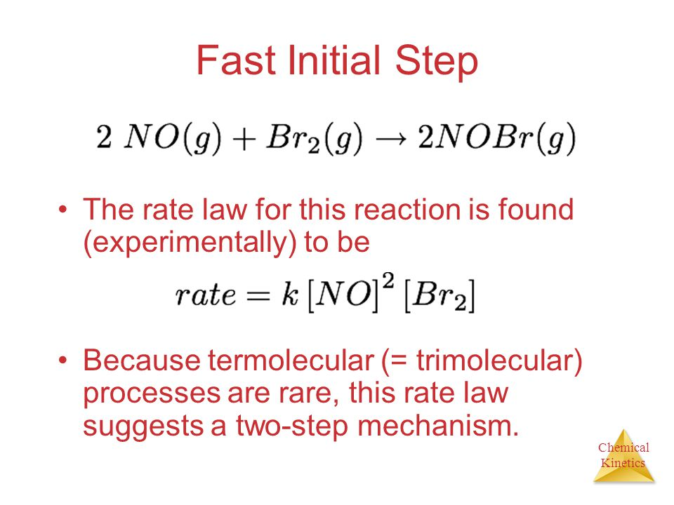Fast Initial Step The rate law for this reaction is found (experimentally) to be.