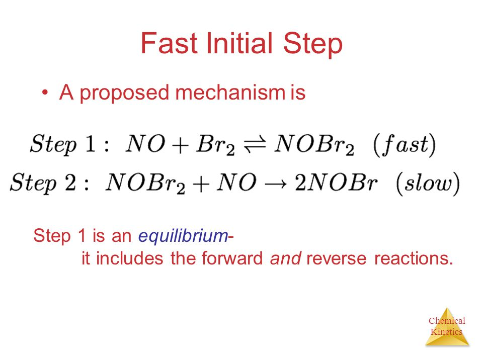 Fast Initial Step A proposed mechanism is Step 1 is an equilibrium-