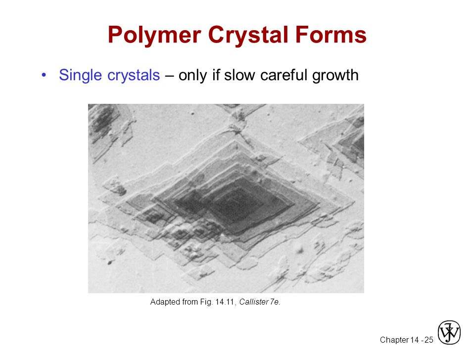 Polymer Crystal Forms Single crystals – only if slow careful growth