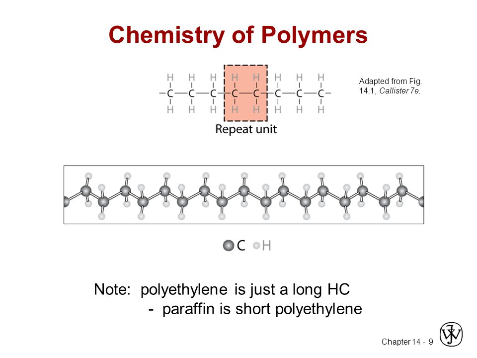 Chemistry of Polymers Note: polyethylene is just a long HC