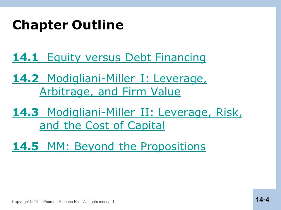 Chapter Outline 14.1 Equity versus Debt Financing