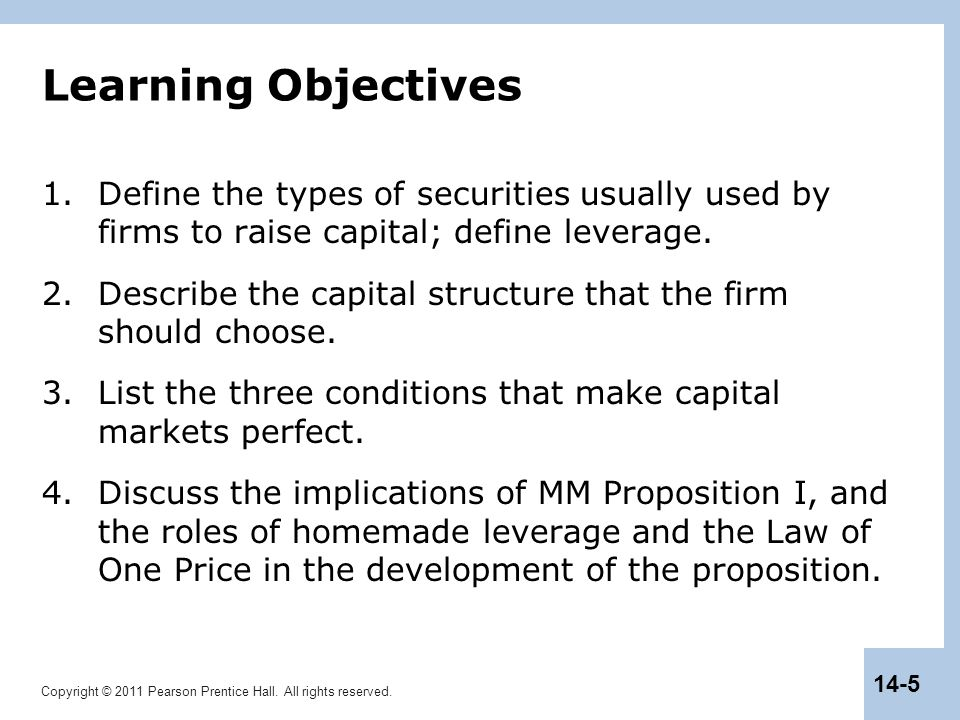 Learning Objectives Define the types of securities usually used by firms to raise capital; define leverage.