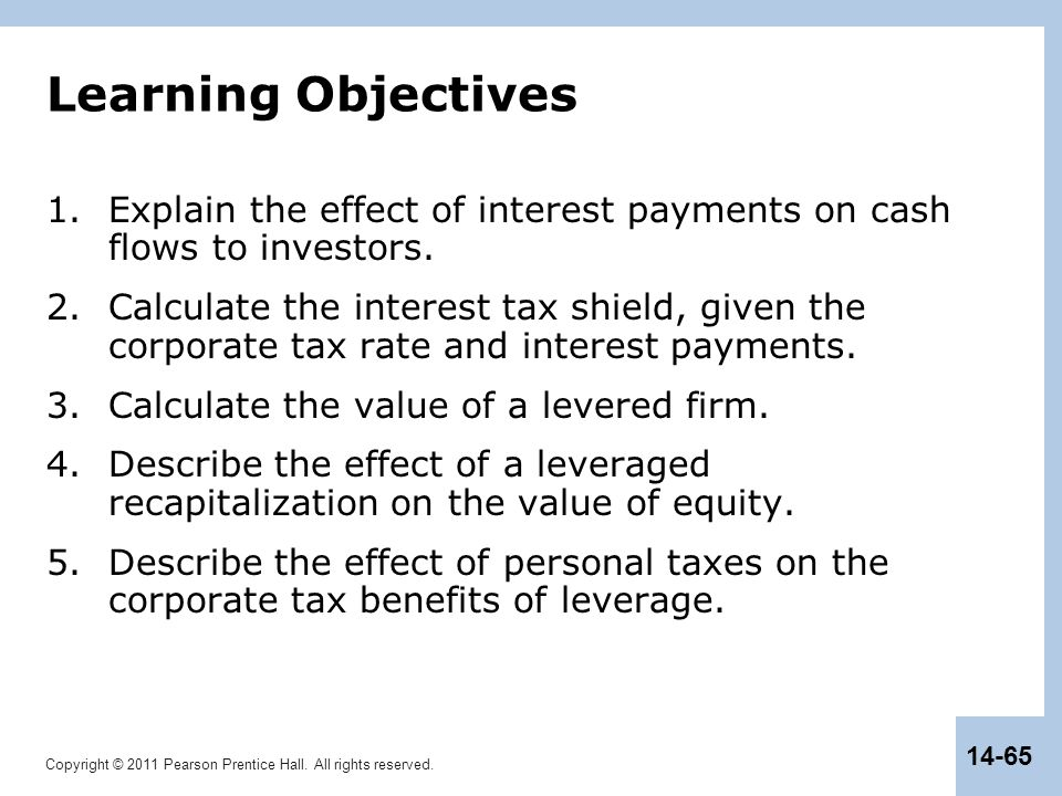 Learning Objectives Explain the effect of interest payments on cash flows to investors.