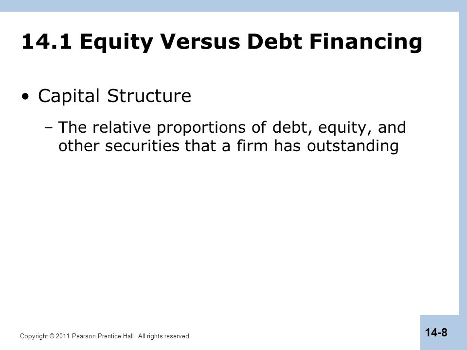 14.1 Equity Versus Debt Financing