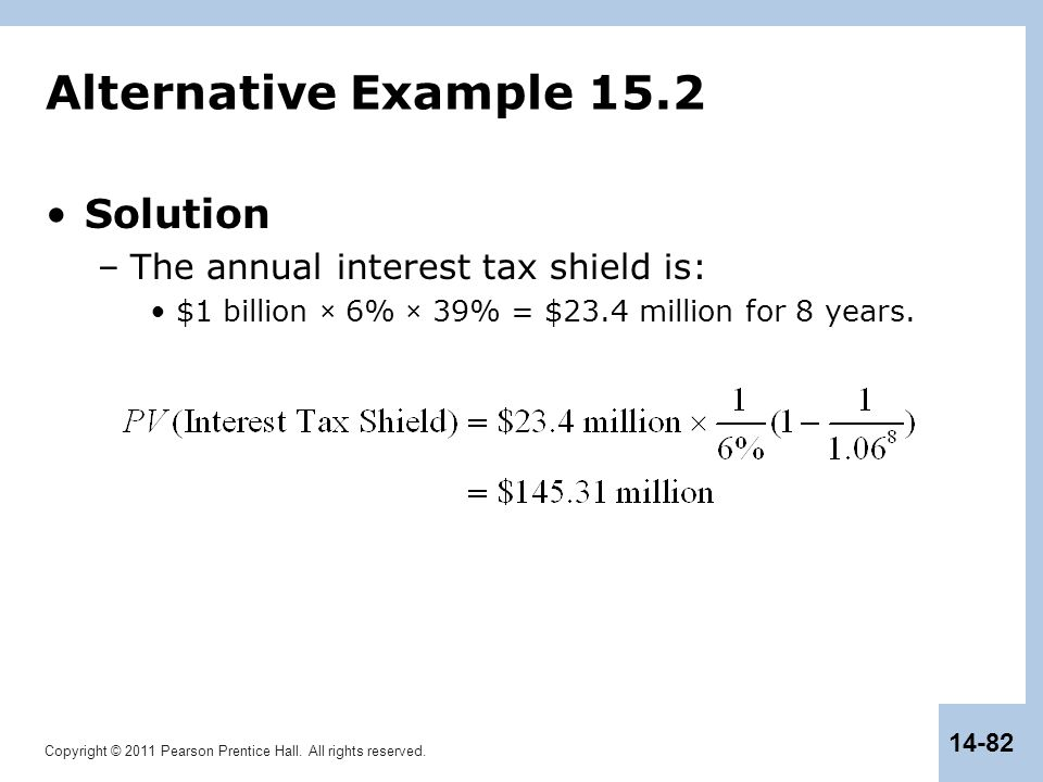 Alternative Example 15.2 Solution The annual interest tax shield is: