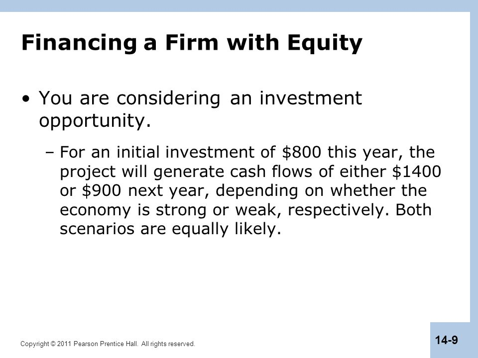 Financing a Firm with Equity