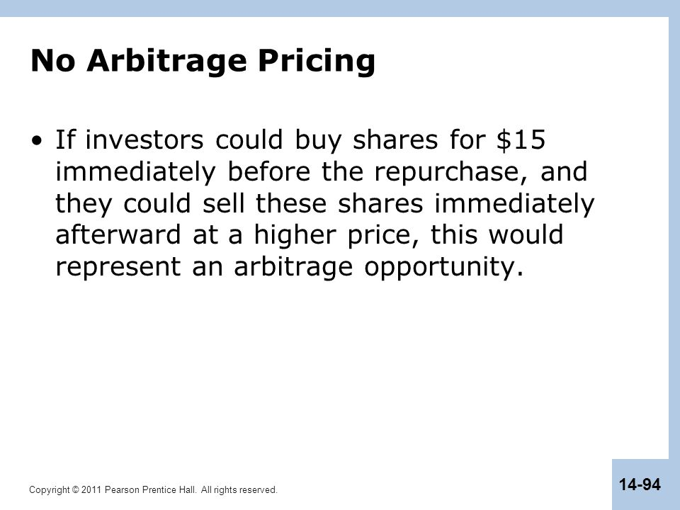 No Arbitrage Pricing