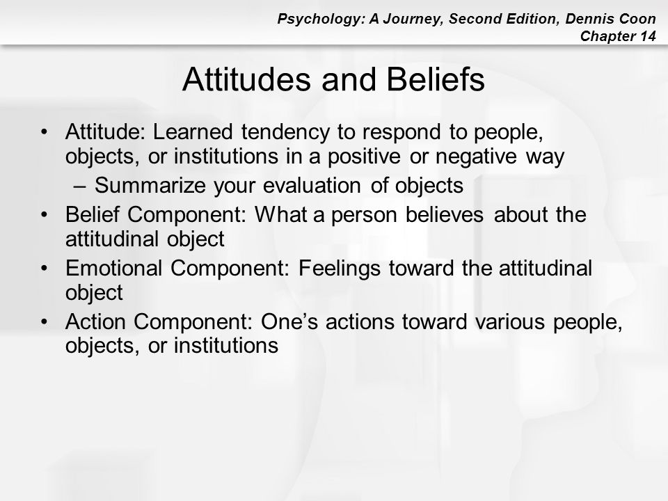 Attitudes and Beliefs Attitude: Learned tendency to respond to people, objects, or institutions in a positive or negative way.