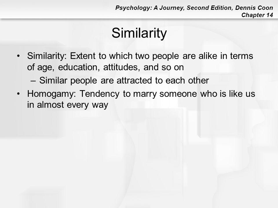 Similarity Similarity: Extent to which two people are alike in terms of age, education, attitudes, and so on.