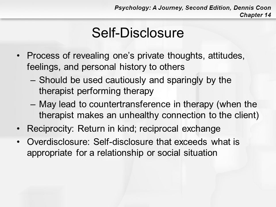 Self-Disclosure Process of revealing one's private thoughts, attitudes, feelings, and personal history to others.