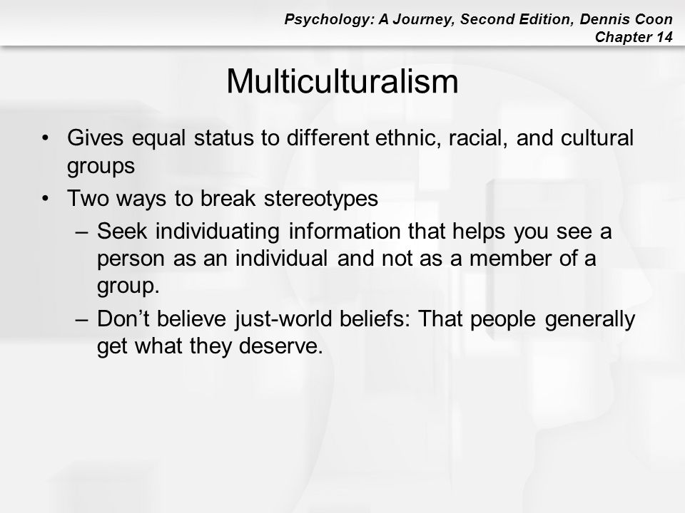 Multiculturalism Gives equal status to different ethnic, racial, and cultural groups. Two ways to break stereotypes.